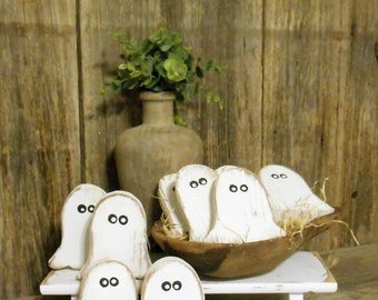 Wooden Ghost Bowl Fillers, Tiered Tray Decor Rustic Halloween Ghost,Single or Set