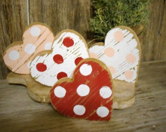 5 BUSINESS DAY  wait beforte shipping. Mini Wood Heart, Rustic Heart Decor, Tiered Tray Decor,  Valentine's Day Table Top Decor