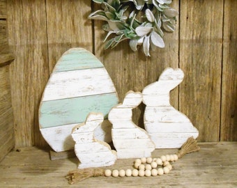 SVR-Rustic Wood Rabbit Set of 3 or Single, Rustic Easter Decor, Rustic Farmhouse Table Decor, Rustic Holiday Decor,  Farmhouse Holiday Decor