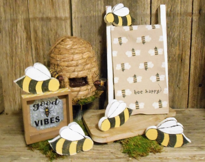Featured listing image: Small Wood Bee, Honey Bee, Tray Decor, Spring Decor, Mini Bee, Wooden Bee, Rustic Bee