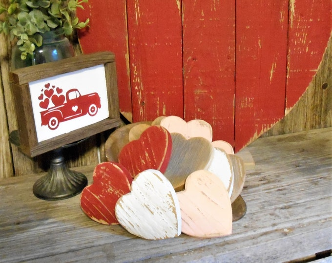 Featured listing image: Rustic Farmhouse Bowl Filler Hearts, Shabby Chic Heart, Reclaimed Wood Heart, Rustic Valentine Decorative Hearts
