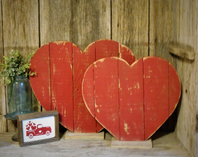 Featured listing image: Large Distressed Wood Heart , Valentine Porch Decor, Rustic Holiday Decor, Rustic Valentine, Heart Table Decor