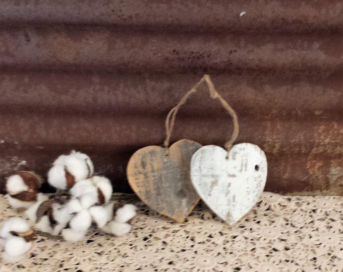 Featured listing image: Rustic Farmhouse Heart Ornament, Shabby Chic Heart, Reclaimed Wood Heart, Rustic Valentine Ornament