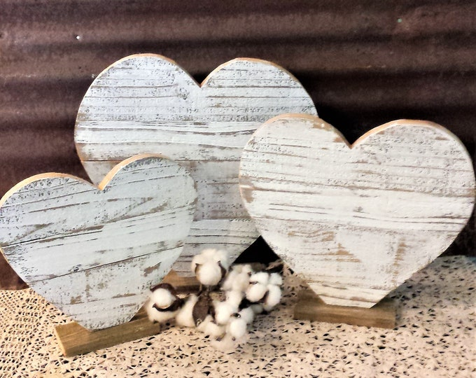 Featured listing image: Rustic Farmhouse Distressed Wood Heart , Valentine Porch Decor, Rustic Holiday Decor, Rustic Valentine, Heart Table Decor