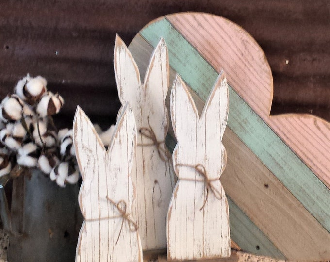Featured listing image: STR-Rustic Wood Rabbit Set of 3 or Single, Rustic Easter Decor, Rustic Farmhouse Table Decor, Rustic Holiday Decor,  Farmhouse Holiday Decor