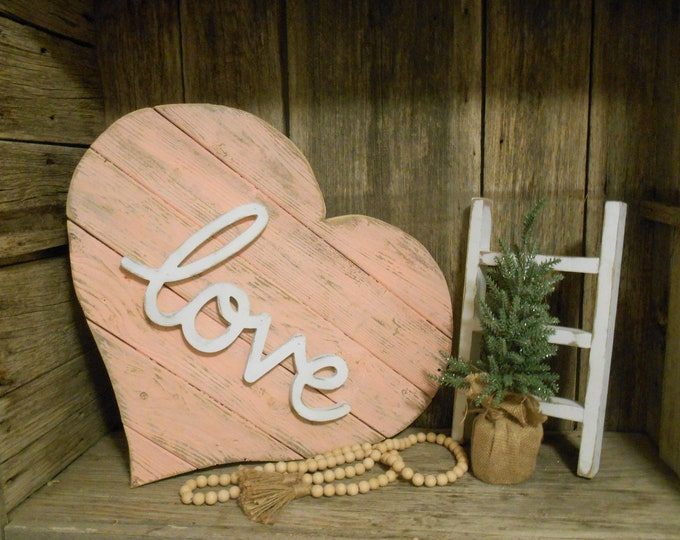 Featured listing image: Jumbo Reclaimed Wood Heart, Pallet Heart, Farmhouse Decor, Rustic Porch Decor, Love Sign, Beach Decor, Rustic Heart