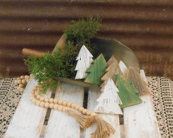 3-5 Business day wait before shipping. Wood Christmas Tree Bowl Fillers, Rustic Christmas Tree,  Single (1) or Set