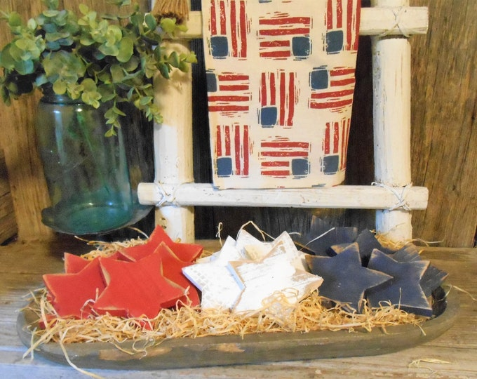Featured listing image: Rustic Patriotic Star Bowl Fillers, Patriotic Decor, Star Bowl Fillers, Wood Star, Pallet Star, July 4th Decor,  Single (1) or Set
