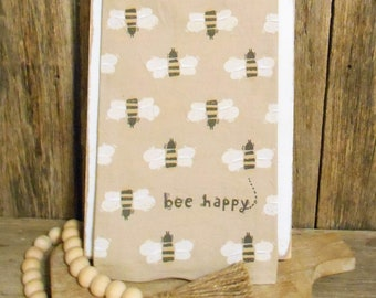 Bee Happy Linen-Cotton Blend Dish Towel,  Bee Tea Towel, Bee Decor