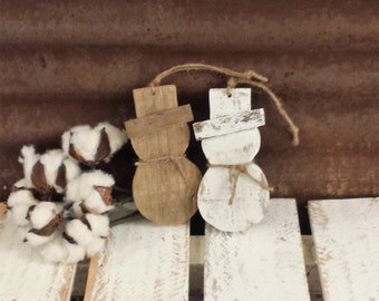 5-7 Business day wait before shipping. Rustic Farmhouse Snowman Ornament, Shabby Chic Snowman, Reclaimed Wood Snowman