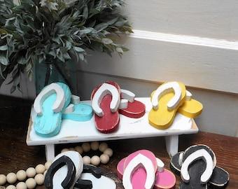 Small Wood Flip Flop Pair, Spring Summer Tiered Tray Decor, Wooden , Beach Flip Flops, Beach Tray Decor