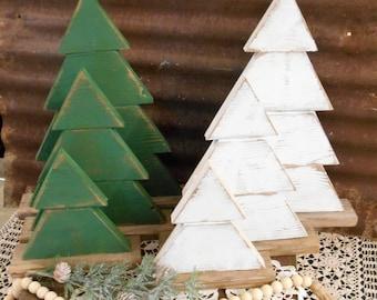 Rustic Wood Christmas Tree  Set of 3 Farmhouse Trees, Rustic Tree Set, Rustic Porch Decor, Holiday Porch Decor, Wood Trees