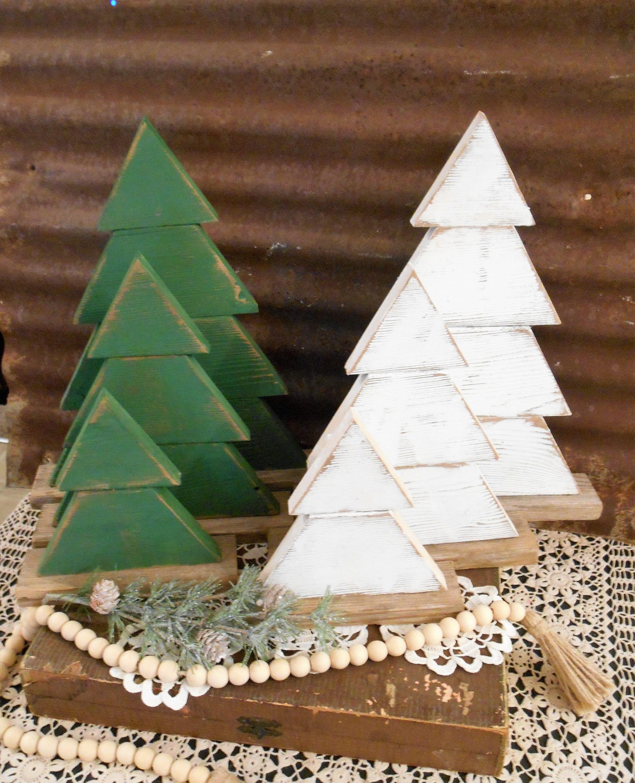 Rustic Wood Christmas Tree Set Of 3 Farmhouse Trees Rustic Tree Set Rustic Porch Decor Holiday Porch Decor Wood Trees