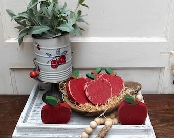Rustic Wood Apple, Apple Decor, Wood Apple, Apple Bowl Filler, Tiered Tray Decor, Summer Tray Decor
