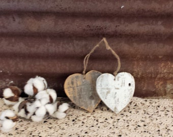 6 BUSINESS DAY wait before shipping, Heart Ornament, Shabby Chic Heart, Reclaimed Wood Heart, Rustic Valentine Ornament