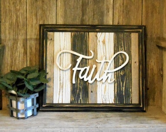 Faith Sign,  Framed Large Rustic Sign, Rustic Wall Decor, Rustic Faith Sign, Black and White Decor