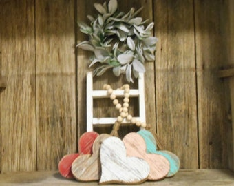 "6"" Wood Heart, Rustic Decor, Farmhouse Decor, Reclaimed Wood Heart, Rustic Porch Decor, Nursery Decor, Beach Decor"