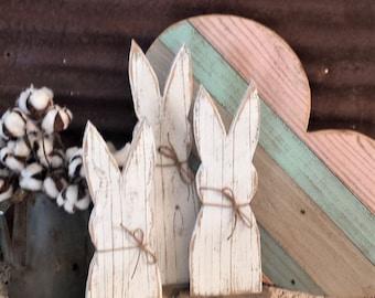 STR-Rustic Wood Rabbit Set of 3 or Single, Rustic Easter Decor, Rustic Farmhouse Table Decor, Rustic Holiday Decor,  Farmhouse Holiday Decor