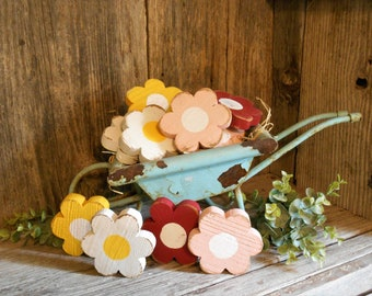Small Wood Daisy, Spring Tiered Tray Decor, Wood Flower, Bowl Filler