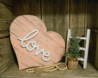 Jumbo Reclaimed Wood Heart, Pallet Heart, Farmhouse Decor, Rustic Porch Decor, Love Sign, Beach Decor, Rustic Heart