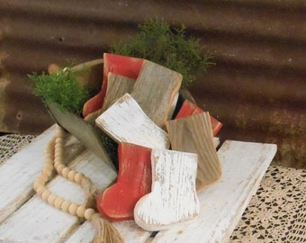 Wood Christmas Stocking Bowl Fillers, Rustic Christmas Stocking, Farmhouse Stocking, Rustic Holiday Decor,  Single (1) or Set