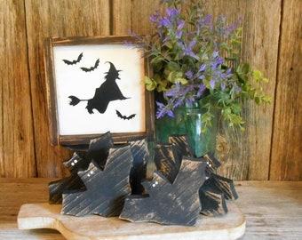 Wooden Bat Bowl Fillers, Tiered Tray Decor Rustic Halloween Bats, Bat Single (1) or Set