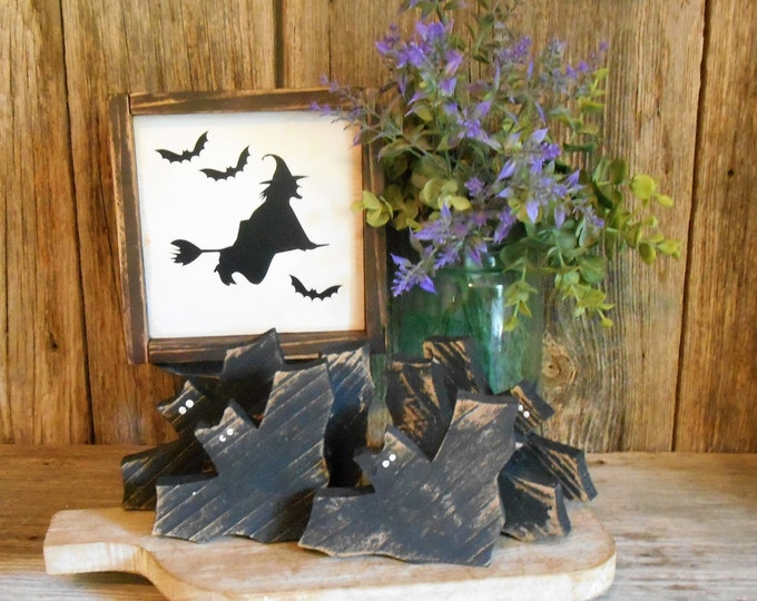 Featured listing image: Wooden Bat Bowl Fillers, Tiered Tray Decor Rustic Halloween Bats, Bat Single (1) or Set