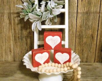 6 BUSINESS DAY wait before shipping, Wood Heart Blocks Set of 3, Rustic Valentine Decor, Farmhouse Heart Decor, Heart Blocks
