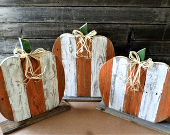 7 - 9 business day wait before shipping. Lg Rustic Wood Pumpkins, Farmhouse Fall ,  Distressed Striped Pumpkins, Thanksgiving Decor