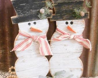 Rustic Farmhouse  Distressed Wood Snowman Decor, Front Porch Decor, Rustic Holiday Decor, Christmas Decor, Winter Decor