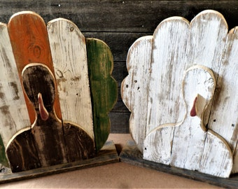 8-10 Business day wait before shipping. Rustic Farmhouse  Distressed Wood Fall Turkey Decor, Front Porch Decor, Rustic Fall Decor
