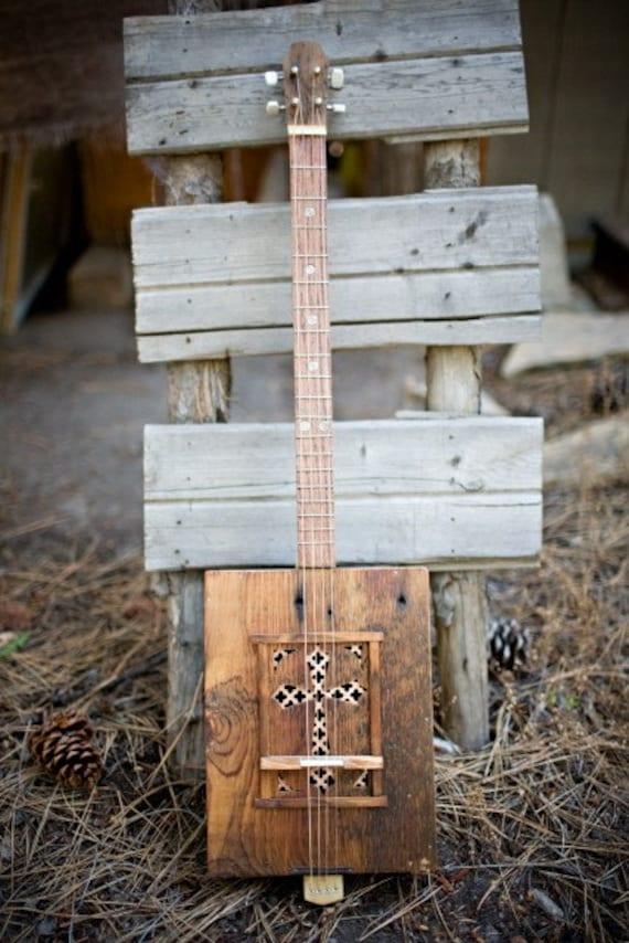 items similar to kochel box guitar handmade cigar box guitar blues guitar electric guitar on etsy. Black Bedroom Furniture Sets. Home Design Ideas