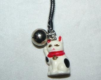 Vintage Japan Maneki Neko Cat Key Chain
