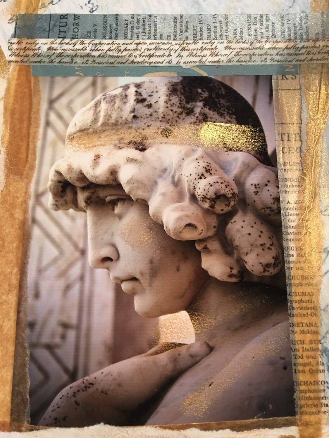 Angel Goddess Collage Gold 5 X 7 Photographic Greeting Card