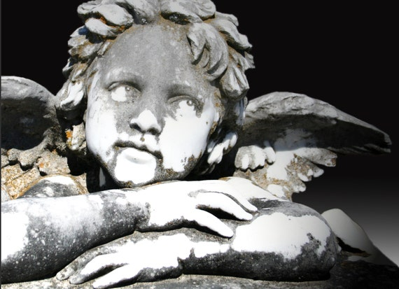 "Cherub Statue (5"" x 7"" photographic greeting card - blank inside/with envelope)"