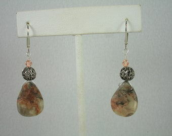 Lever back earrings with petal shaped crazy lace agate beads, agate jewelry, muted tones
