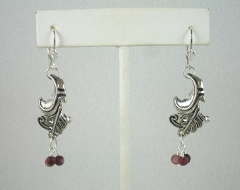Lever back earrings with feather connectors and tourmaline beads, sterling silver lever back earrings