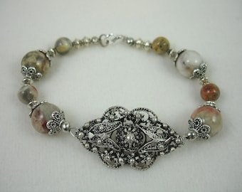 Bracelet with crazy lace agate beads and filagree focal, agate jewelry, muted colors