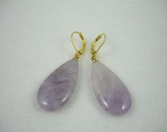Amethyst earrings on gold plated lever backs, light purple color, gemstone earring, flat teardrop shape