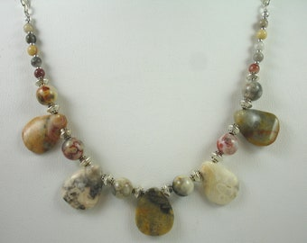 Necklace with crazy lace agate beads, petal shaped beads, muted colored necklace