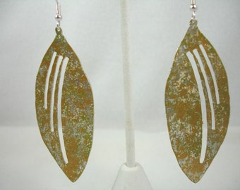 Leaf earrings, earrings with patina leaf, leaves with cutouts on silver plated ear wires