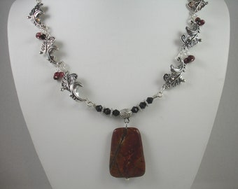 Necklace with jasper pendant and silver feather connectors, picasso jasper pendant and tourmaline beads