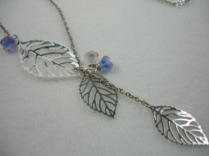 silver leaf necklace Leaf lariat necklace silver necklace with skeleton leaves and flowers