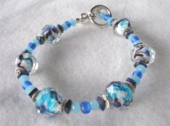Swirls of Blue Lampwork Bracelet