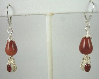 Carnelian earrings, sterling silver lever backs with carnelian beads, gemstone earrings