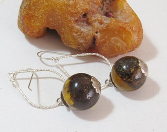 6446a3303 Silver earrings with 100% green amber. Natural amber handmade beads. Baltic  amber. Gift.