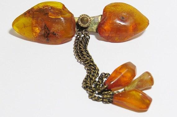 GENUINE BALTIC AMBER brooch