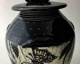 Butterfly Sgraffito Lidded jar