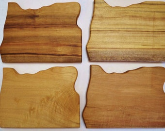 Myrtlewood Oregon shape cutting board. Heart wood burned for city of your choice