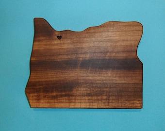 "I love "" Portland Oregon "" state shape  Myrtlewood cutting board"
